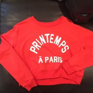 Cropped red crew neck
